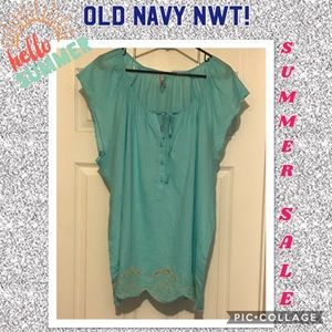 NWT! old Navy blue/turquoise XXL Boho shirt